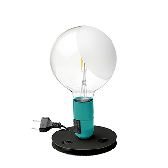Lampe a poser lampadina turquoise led 2700k 200lm o12 5cm h24cm flos normal