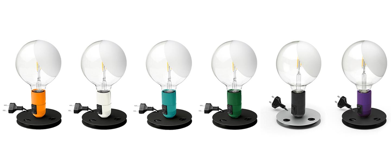 Lampe a poser lampadina violet led 2700k 200lm o12 5cm h24cm flos normal