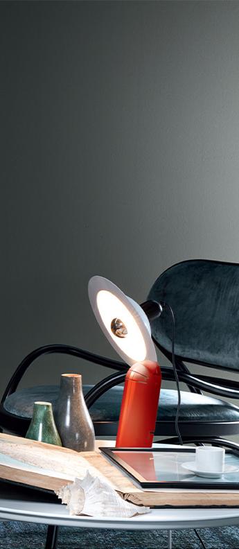 Lampe a poser lampiatta rouge l28 2cm h48 4cm stilnovo normal