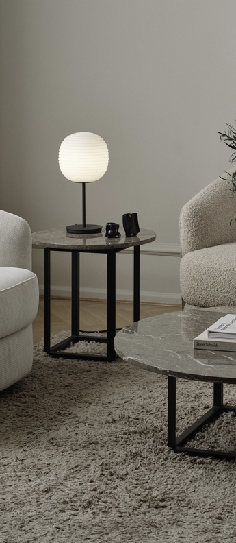 Lampe a poser lantern verre opal blanc noir o24cm h30cm new works normal