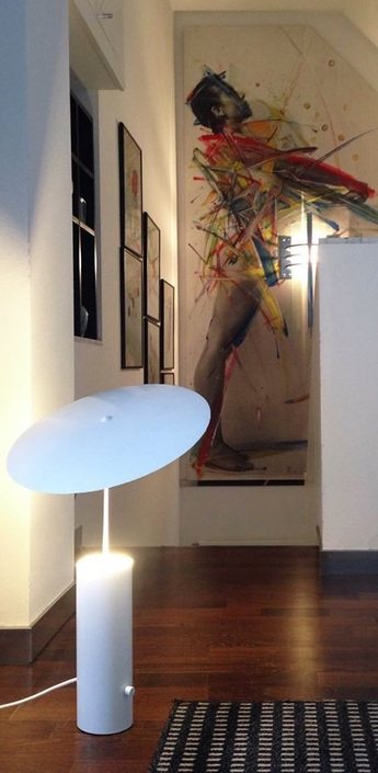 Lampe a poser led parasol blanc h50cm innermost normal