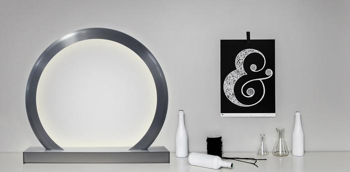 Lampe a poser led rgb dimable radius gateway wifi aluminium brosse h65cm ilomio normal