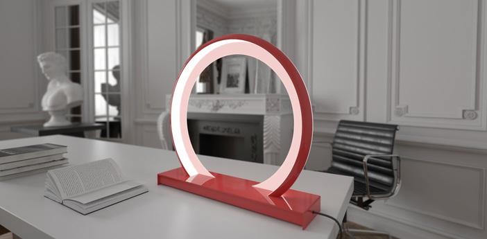 Lampe a poser led rgb dimable radius gateway wifi rouge h65cm ilomio normal