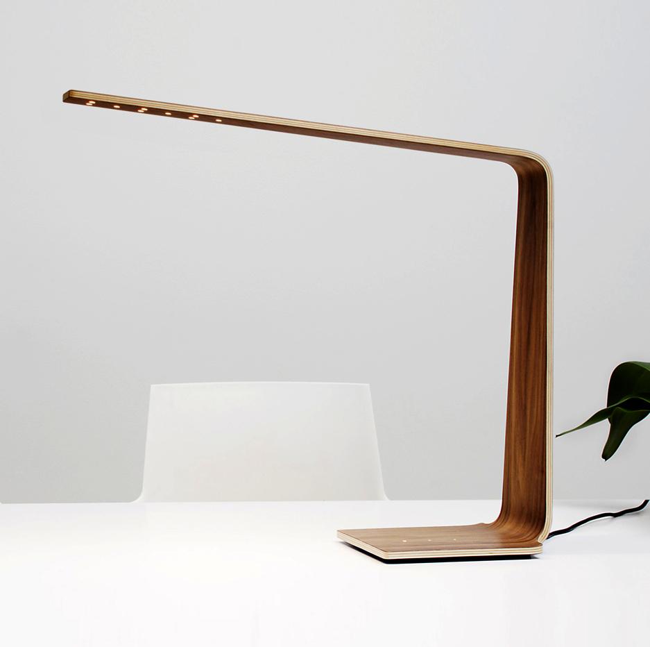 lampe poser led4 noyer h52cm tunto luminaires nedgis. Black Bedroom Furniture Sets. Home Design Ideas