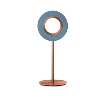 Lampe a poser lens circular bleu metal finition cuivre led 1800k a 3000k 1930lm l21 6cm h55cm lzf normal