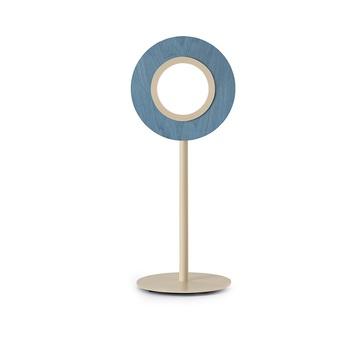 Lampe a poser lens circular bleu metal finition ivoire led 1800k a 3000k 1930lm l21 6cm h55cm lzf normal