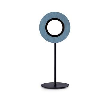 Lampe a poser lens circular bleu metal finition noir mat led 1800k a 3000k 1930lm l21 6cm h55cm lzf normal