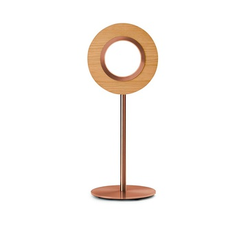 Lampe a poser lens circular cerisier metal finition cuivre led 1800k a 3000k 1930lm l21 6cm h55cm lzf normal