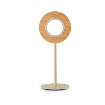 Lampe a poser lens circular cerisier metal finition ivoire led 1800k a 3000k 1930lm l21 6cm h55cm lzf normal