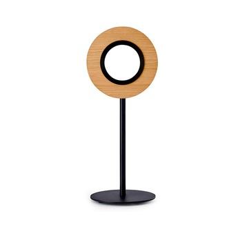 Lampe a poser lens circular cerisier metal finition noir mat led 1800k a 3000k 1930lm l21 6cm h55cm lzf normal