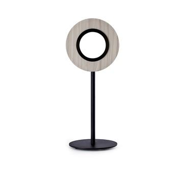 Lampe a poser lens circular gris metal finition noir mat led 1800k a 3000k 1930lm l21 6cm h55cm lzf normal