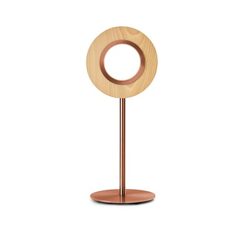 Lampe a poser lens circular hetre metal finition cuivre led 1800k a 3000k 1930lm l21 6cm h55cm lzf normal