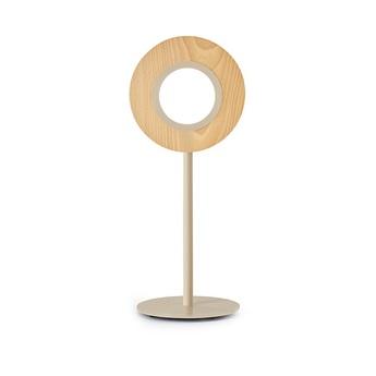 Lampe a poser lens circular hetre metal finition ivoire led 1800k a 3000k 1930lm l21 6cm h55cm lzf normal