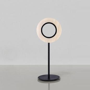 Lampe a poser lens circular ivoire metal finition noir mat led 1800k a 3000k 1930lm l21 6cm h55cm lzf normal