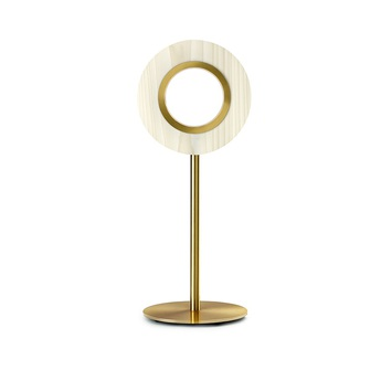 Lampe a poser lens circular ivoire metal finition or led 1800k a 3000k 1930lm l21 6cm h55cm lzf normal