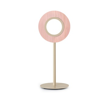 Lampe a poser lens circular rose metal finition ivoire led 1800k a 3000k 1930lm l21 6cm h55cm lzf normal