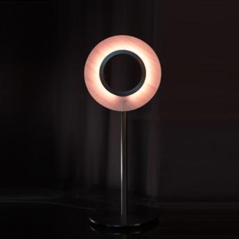 Lampe a poser lens circular rose metal finition noir mat led 1800k a 3000k 1930lm l21 6cm h55cm lzf normal