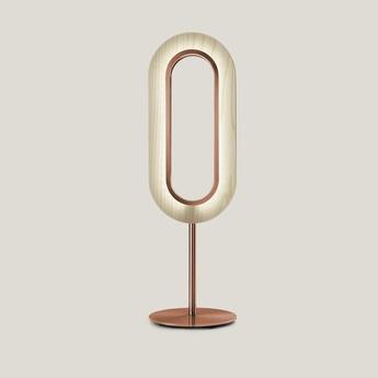 Lampe a poser lens oval ivoire metal finition cuivre led 1800k a 3000k 1930lm l20 8cm h67cm lzf normal