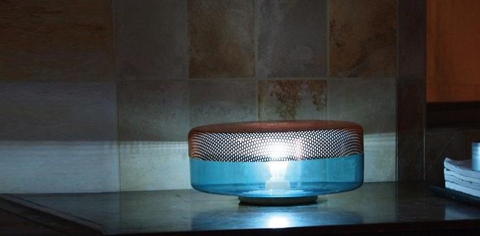 Lampe a poser light drop big turquoise cuivre o32cm pulpo normal