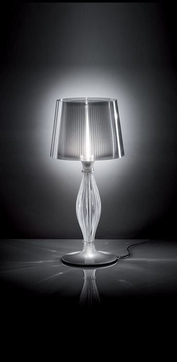 Lampe a poser liza transparent h70cm led halogene slamp normal