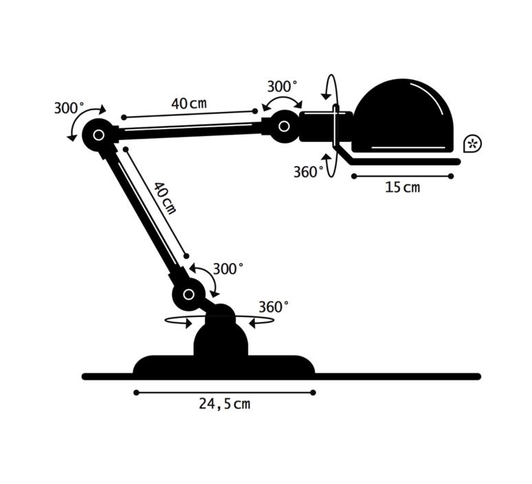 Loft 2 bras jean louis domecq lampe a poser table lamp  jielde d6440 ral6003  design signed 35974 product