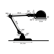 Loft 2 bras jean louis domecq lampe a poser table lamp  jielde d6440 ral6003  design signed 35974 thumb