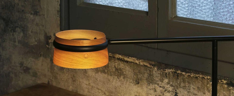 Lampe a poser loop bois noir led l65cm h45cm faro normal