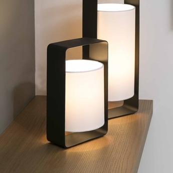Lampe a poser lula noir et blanc h27cm faro normal