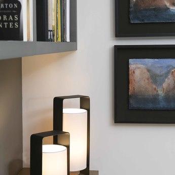 Lampe a poser lula noir et blanc h40cm faro normal
