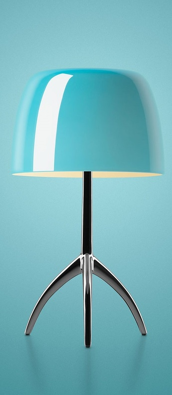Lampe a poser lumiere grande turquoise o26cm h45cm foscarini normal