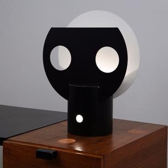 Lampe a poser lune noir blanc h50cm lignes de demarcation normal