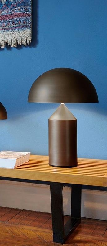 Lampe a poser m atollo bronze l38cm h50cm oluce normal