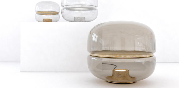 Lampe a poser macaron l verre fume gris base blanche led o54cm h47 5cm brokis normal