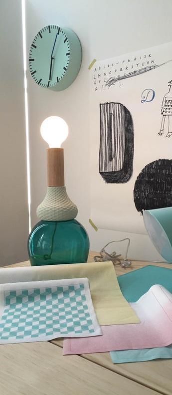 Lampe a poser maria teresa bleu beige o19cm h36 5cm seletti normal
