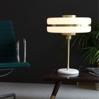 Lampe a poser masina laiton verre opalin o40cm h52 3cm bert frank normal