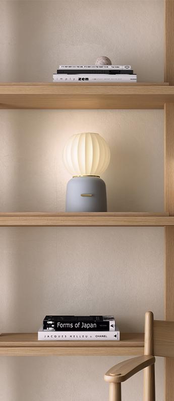 Lampe a poser mei base grise anneau dore et abat jour blanc o18cm h30cm carpyen normal