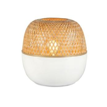 Lampe a poser mekong s blanc bambou h29cm o25cm good mojo normal