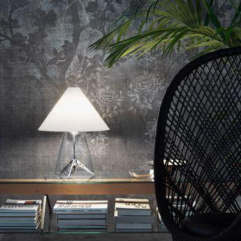 Lampe a poser metafora transparent blanc o49cm h58cm fontana arte normal