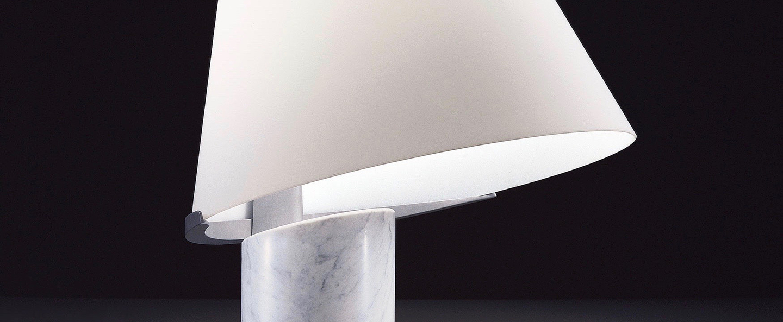 Lampe a poser micene t marbre blanc l51cm h76cm leucos normal
