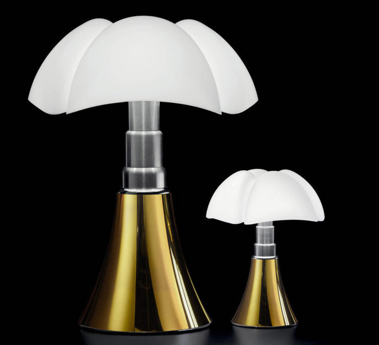Table lamp, MINI PIPISTRELLO TOUCH DIMMABLE, white, gold, LED, Ø27cm ...