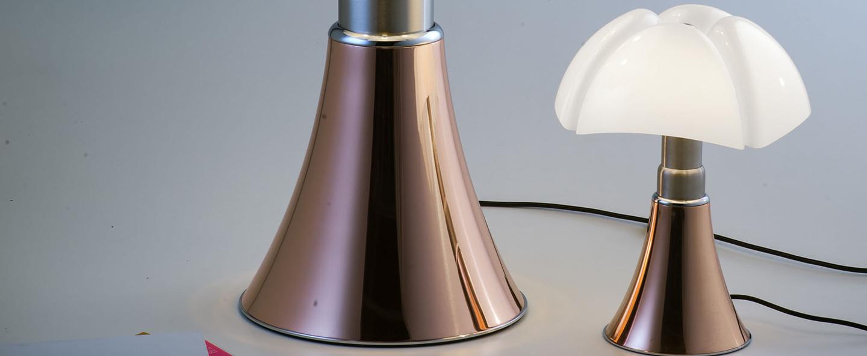 Lampe a poser minipipistrello tactile led cuivre h35cm martinelli luce normal