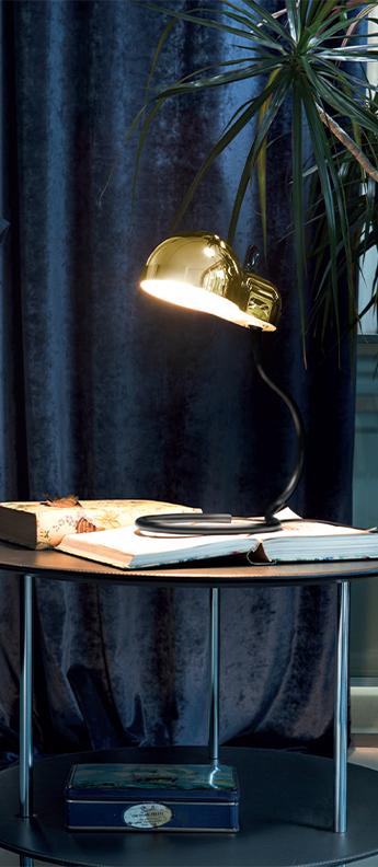 Lampe a poser minitopo or et noir l19 4cm h36cm stilnovo normal