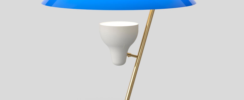 Lampe a poser model 548 bleu azur laiton led 2700k 730lm o50cm h50cm astep normal