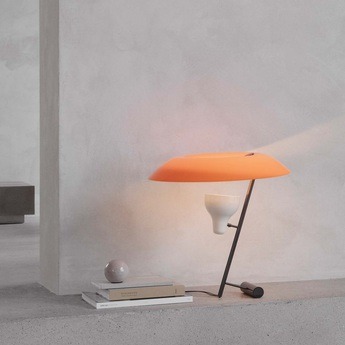 Lampe a poser model 548 orange laiton noir led 2700k 730lm o50cm h50cm astep normal