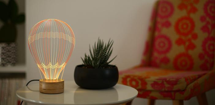Lampe a poser mongolfiere blanc l15cm h23cm studio cheha normal