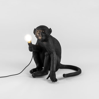 Lampe a poser monkey sitting noir h30cm seletti normal