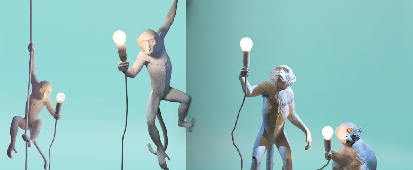 Lampe a poser monkey standing blanc h54cm seletti normal