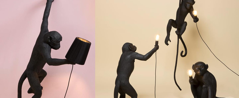 Lampe a poser monkey standing noir h54cm seletti normal