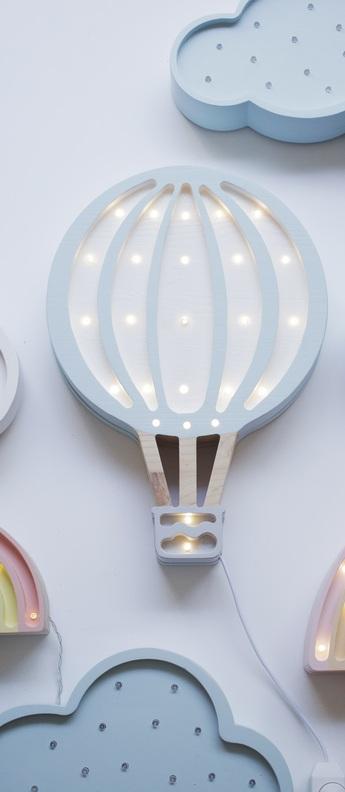 Lampe a poser montgolfiere hot air balloon bleu ciel l27cm h39cm little lights normal