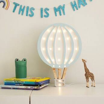 Lampe a poser montgolfiere hot air balloon bleu ciel l27cm h39cm little lights normal